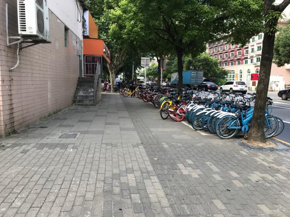 シェア自転車のある道路